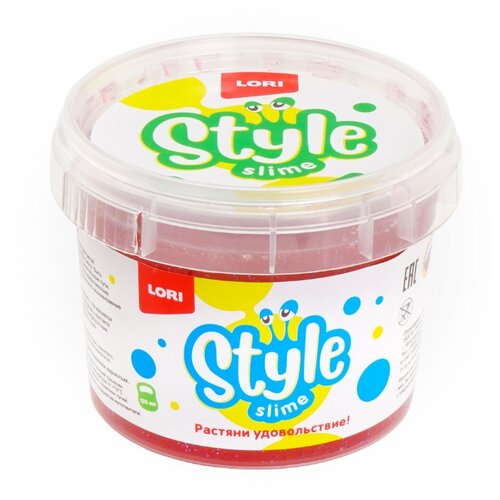 Лизун LORI Style Slime блестящий с ароматом клубники красный