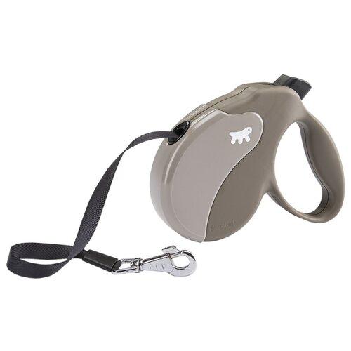 Поводок-рулетка для собак Ferplast Amigo tape M серый 5 м поводок рулетка для собак ferplast amigo tape s серый 5 м