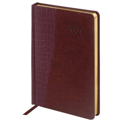 Купить Ежедневник BRAUBERG Cayman датированный на 2021 год, искусственная кожа, А5, 168 листов, коричневый, Ежедневники, записные книжки