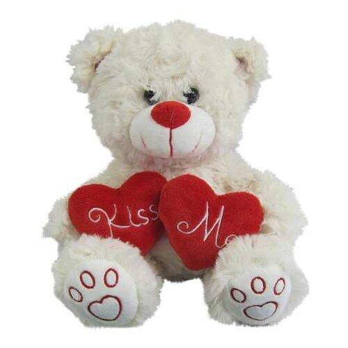Мягкая игрушка Junfa toys Медведь белый с сердцем Kiss me 18 см