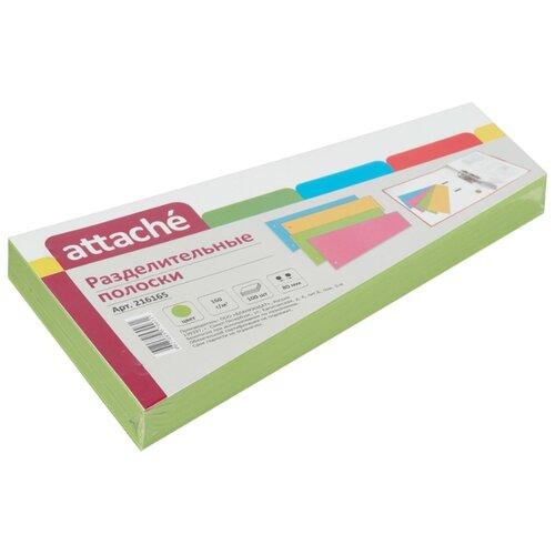 Купить Attache Разделитель листов 230x120 мм, картонный, 100 листов зеленый, Файлы и папки