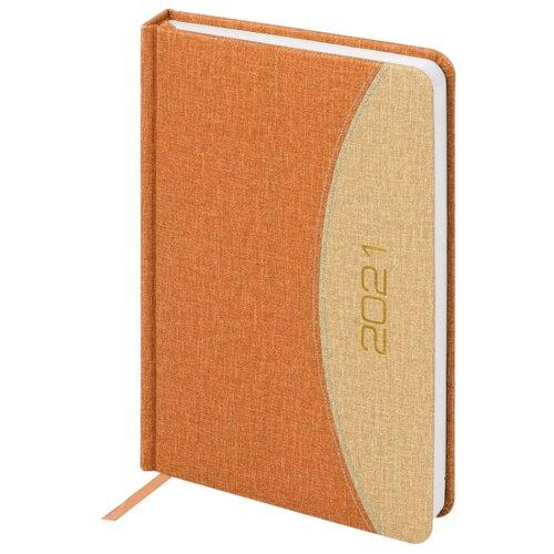 Купить Ежедневник BRAUBERG SimplyNew датированный на 2021 год, искусственная кожа, А5, 168 листов, оранжевый/бежевый, Ежедневники, записные книжки