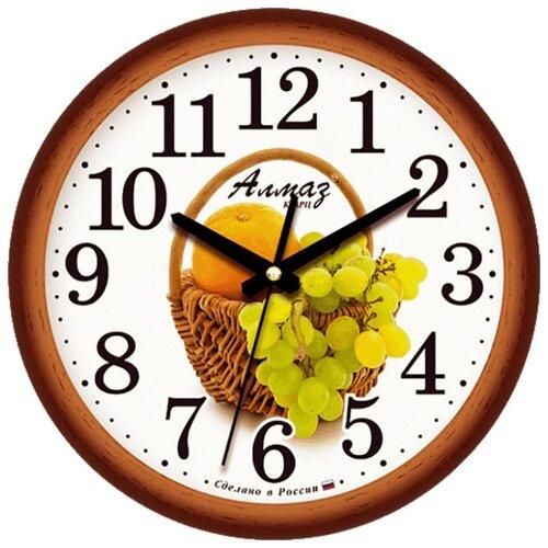 Часы настенные кварцевые Алмаз E11 коричневый/белый часы настенные кварцевые алмаз c51 c54 коричневый белый
