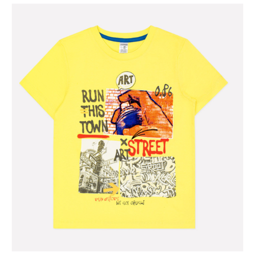Футболка crockid размер 104, желтый платье smena размер 104 56 синий желтый