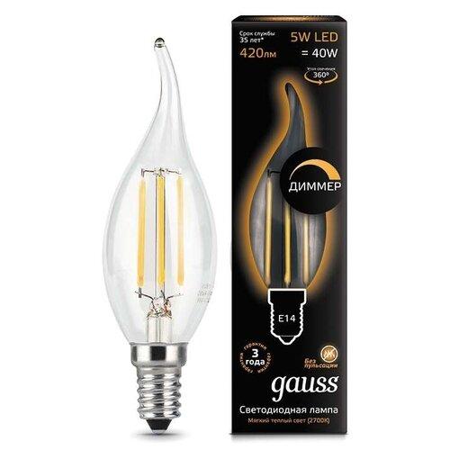 Лампа светодиодная gauss 104801105-D, E14, CA35, 5Вт лампа светодиодная gauss 101505205 d gu5 3 jcdr 5вт