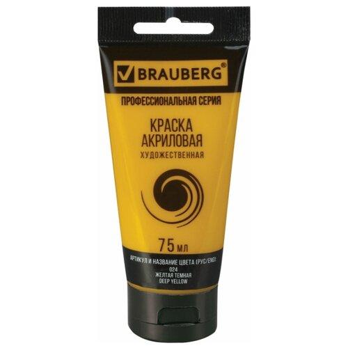 Купить BRAUBERG Краска акриловая художественная Профессиональная серия 75 мл желтая темная, Краски