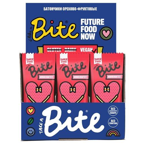 Фруктовый батончик Bite Box Иммунитет без сахара Клюква и тыквенные семечки, 20 шт батончик фруктово ореховый take a bite иммунитет клюква тыквенные семечки 45 г