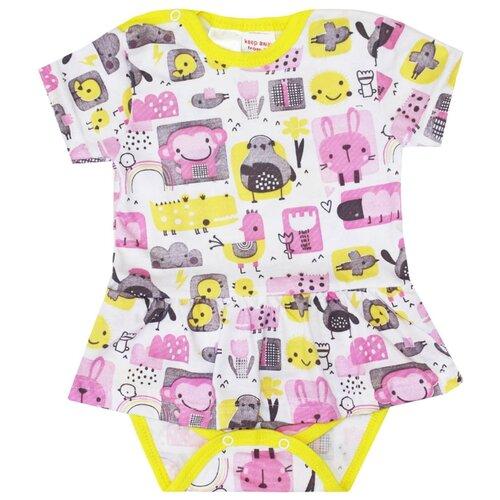 Платье-боди KotMarKot Colour bunny размер 68, белый/розовый