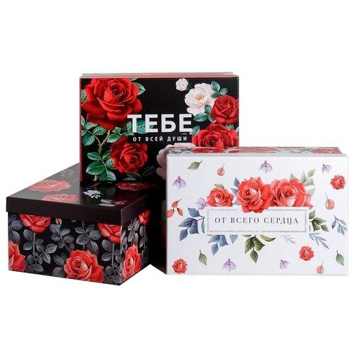 Фото - Набор подарочных коробок Дарите счастье Цветочный стиль, 3 шт черный/белый/красный набор подарочных коробок дарите счастье универсальный 10 шт бежевый белый черный