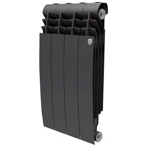 Радиатор секционный биметаллический Royal Thermo BiLiner 500 x4 теплоотдача 444 Вт, подключение универсальное боковое Noir Sable биметаллический радиатор royal thermo pianoforte 500 noir sable 8 секций с боковым подключением