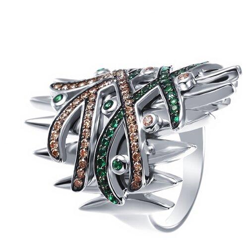 ELEMENT47 Широкое ювелирное кольцо из серебра 925 пробы с кубическим цирконием SY-355837-R_KO_002_WG, размер 16.75