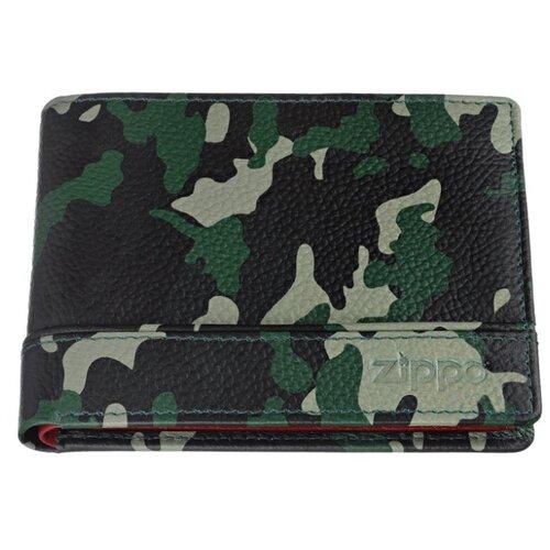 Портмоне ZIPPO, зелёно-чёрный камуфляж, натуральная кожа, 11,2×2×8,2 см