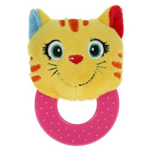 Прорезыватель-погремушка Умка Игривый котёнок с кольцом RRT-C4 желтый/красный/розовый прорезыватель погремушка умка пищалка rs d желтый зеленый