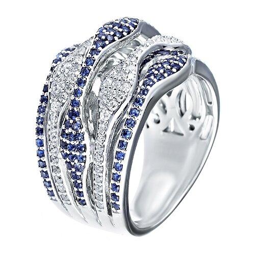 ELEMENT47 Широкое ювелирное кольцо из серебра 925 пробы с кубическим цирконием DM0320R_KO_001_WG, размер 18