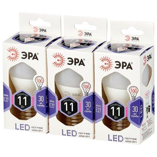 Упаковка светодиодных ламп 3 шт ЭРА Б0032991, E27, P45, 11Вт комплект из 3 ламп светодиодных диммируемых с пультом ду p45 rgbw e14 45вт 3000k 10683
