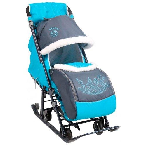 Санки-коляска Nika Ника Детям 7-1 (НД7-1) серый с бирюзовым санки коляски ника детям 6 енот зеленый серый