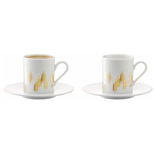 LSA Набор кофейных пар Fir Metallic 4 предмета 100 мл белый / золотистый lsa набор кофейных пар fir metallic 4 предмета 100 мл белый золотистый