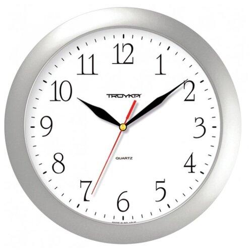 Часы настенные кварцевые Тройка 11170113 белый.