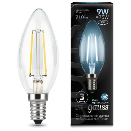 Лампа светодиодная gauss 103801209, E14, C35, 9Вт лампа светодиодная gauss 13519 gu5 3 jcdr 9вт