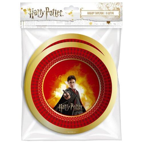 ND Play Тарелки одноразовые бумажные Harry Potter 18 см (6 шт.) красный/золотистый бумага упаковочная nd play harry potter 2 3 100 х 70 см 2 шт красный