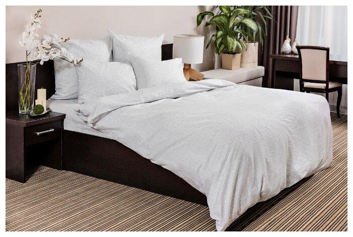 Постельное белье евростандарт Ночь Нежна Белое кружево 50х70 см, бязь белый/серый