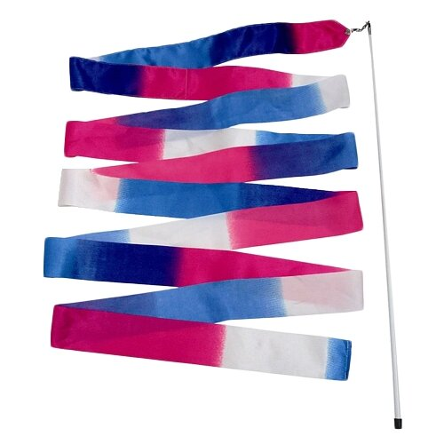 Фото - Палочка с лентой для художественной гимнастики Larsen A236 белый/розовый/голубой палочка с лентой для художественной гимнастики larsen ab220 синий