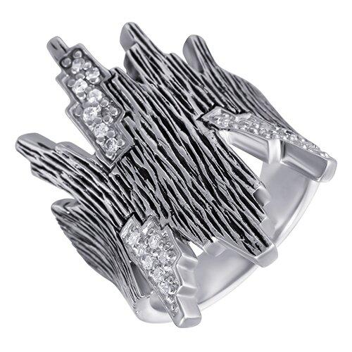 ELEMENT47 Широкое ювелирное кольцо из серебра 925 пробы с кубическим цирконием 05S2AZR278006CURI_KO_001_WG, размер 17