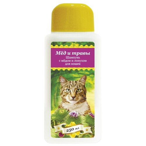 Шампунь Пчелодар с мёдом и лопухом для кошек 250мл шампунь для животных пчелодар 63290
