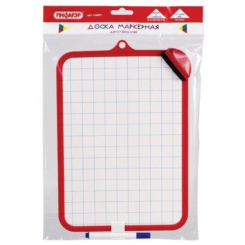 Купить Доска для рисования детская Пифагор двусторонняя с маркером и губкой красный, Доски и мольберты