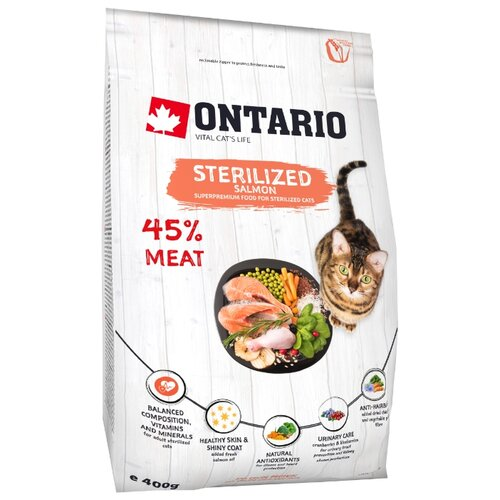 Сухой корм для стерилизованных кошек Ontario с лососем 400 г