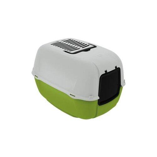 Туалет-домик для кошек Ferplast Prima 52.5х39.5х38 см светло-зеленый/белый