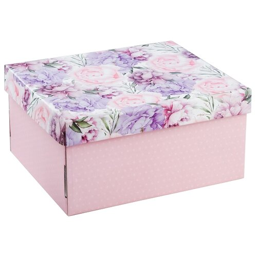 Коробка подарочная Дарите счастье Цветочная сказка 31.2 х 16.1 х 25.6 см розовый/сиреневый
