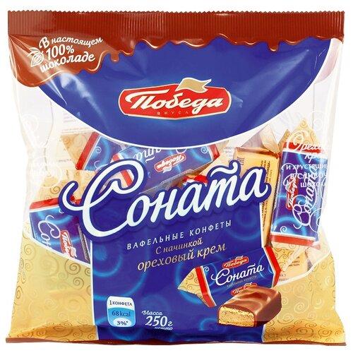 Конфеты Победа вкуса Соната вафельные с начинкой ореховый крем в сливочном шоколаде 250 г