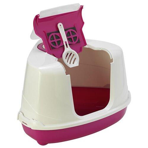 Туалет-домик для кошек Moderna Flip Corner 55.7х45.1х38.2 см розовый 1 шт.