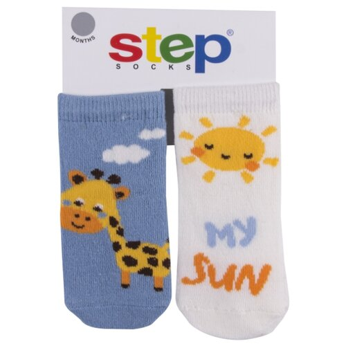 Купить Носки Step комплект из 2 пар, размер 1-6 мес, голубой/белый