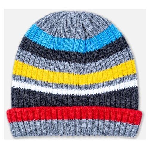 Купить Шапка бини playToday размер 54, серый/красный/желтый, Головные уборы