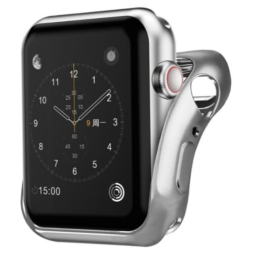 Чехол INTERSTEP Спортивный, силикон для Apple Watch 40mm серебро