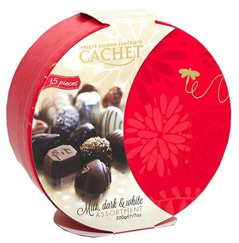 Набор конфет Cachet Ассорти, белый, молочный и темный шоколад, 200г