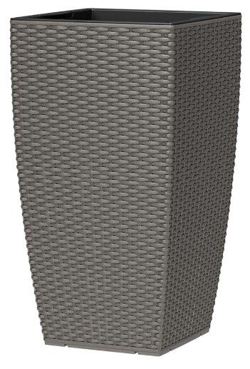 Кашпо для цветов и деревьев Prosperplast напольное высокое ROTANG квадрат 32х32х61Н пластик со вставкой темно-серый