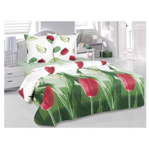 цена Постельное белье 1.5-спальное ТЕТ-А-ТЕТ Тюльпаны, бязь белый/зеленый/красный онлайн в 2017 году
