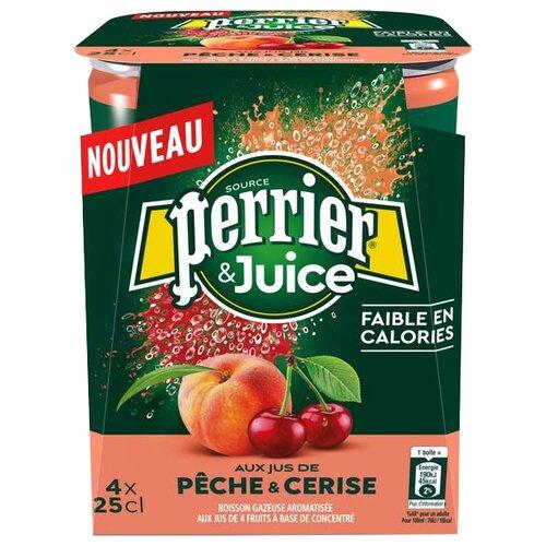 Газированный напиток Perrier персик и вишня, 0.25 л, 4 шт.
