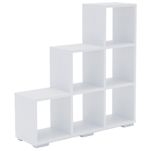 Стеллаж Мама Стильный 108 6 полок, материал: ЛДСП, ШxГxВ: 108х30х109 см, белый стеллаж стильный