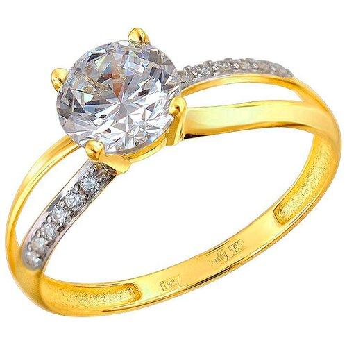 Эстет Кольцо с 13 фианитами из жёлтого золота 01К1310744, размер 18