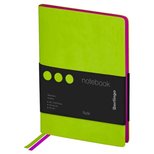 Ежедневник Berlingo Fuze недатированный, искусственная кожа, А6, 80 листов, салатовый записная книжка berlingo fuze а6 80 листов black yellow nb0 87609
