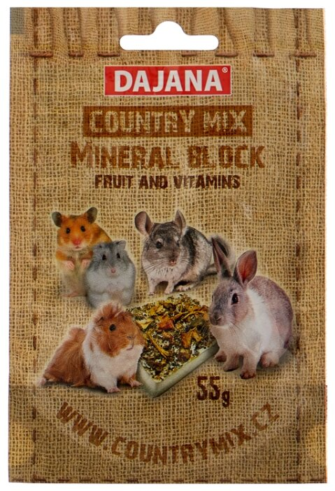 Лакомство для кроликов, грызунов Dajana Pet Country mix mineral block фрукты, витамины