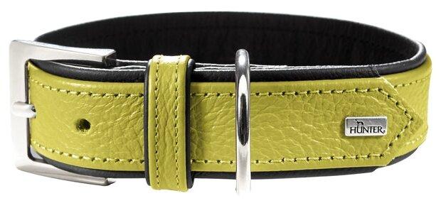 Ошейник Hunter Collar Capri 40 nickel (29-35см) натуральная кожа лайм/черный для собак
