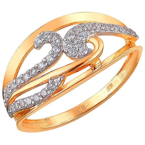 Эстет Кольцо с 33 фианитами из красного золота 01К1110652, размер 16.5
