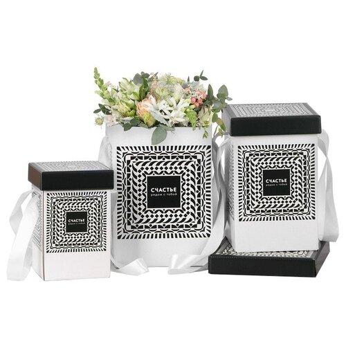 Фото - Набор подарочных коробок Дарите счастье Счастье рядом с тобой 3 шт. черный/белый набор подарочных коробок tai an baoli paper product co ltd фауна 17 шт желтый