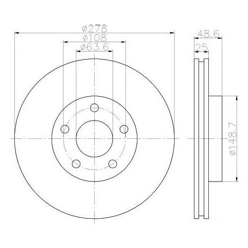 Комплект тормозных дисков передний NIBK RN1213 278x25 для Ford Focus (2 шт.)