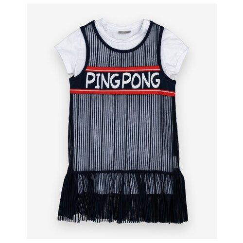 Платье Gulliver размер 116, белый/черный платье oodji ultra цвет красный белый 14001071 13 46148 4512s размер xs 42 170